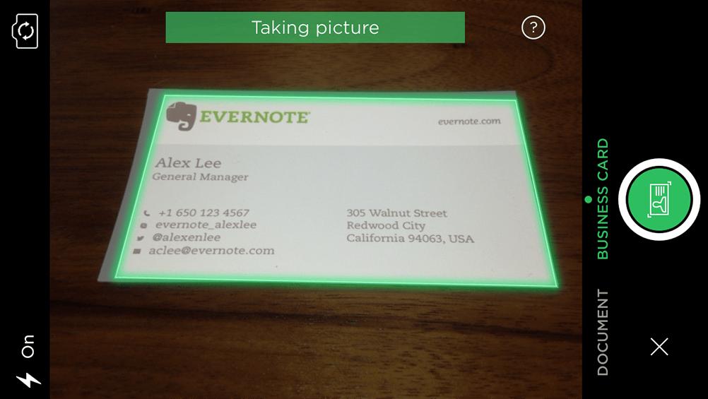 Visitenkarten Scan Funktion Hinzugefügt Evernote