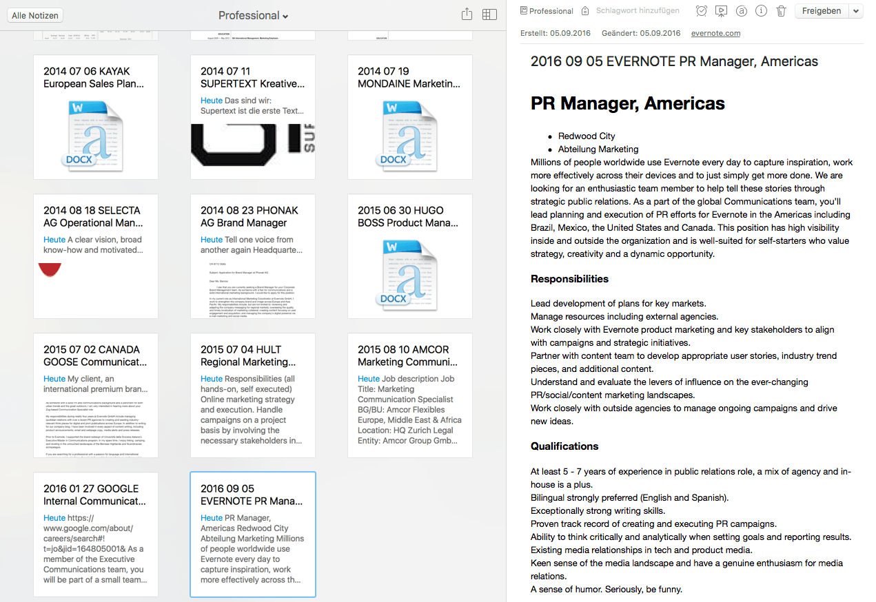 Guarde los listados de trabajos recortados en el cuaderno profesional