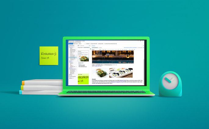 Green Computer with Sticky Note next to it and Evernote