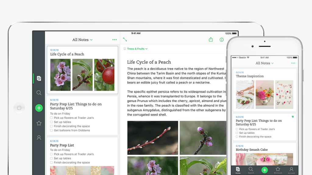 iPad and iPhone with Evernote