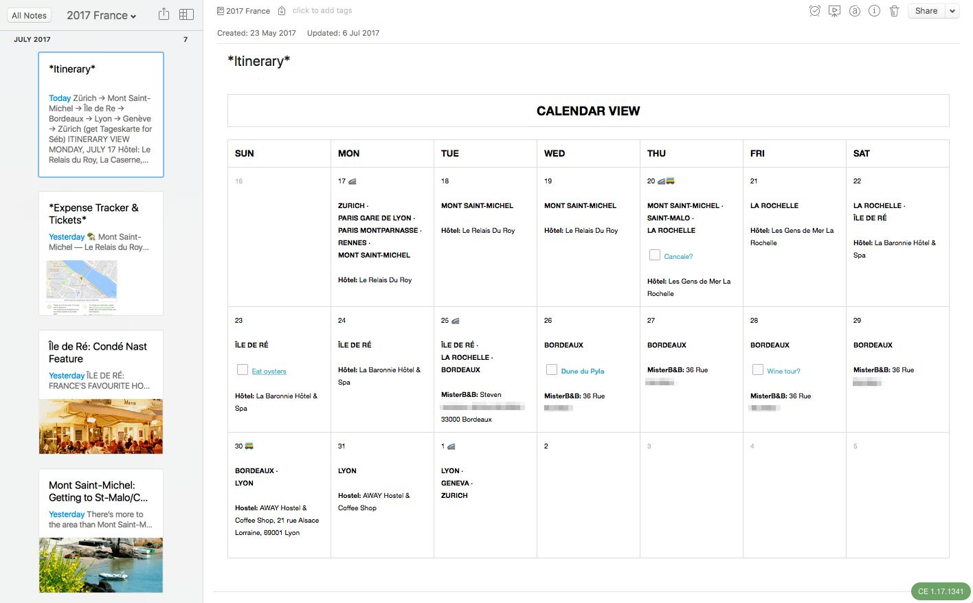 Kalender mit Reisedaten