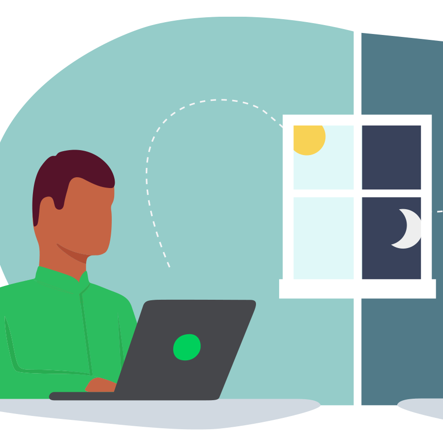 Illustration of man working from home.