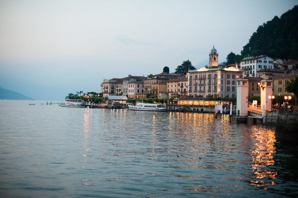 View of the coast of Lake Como, Italy