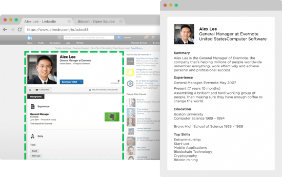 Evernote Webclipper auf LinkedIn