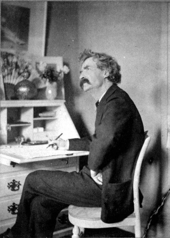 Mark Twain Sitting on Chair Thinking