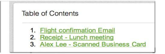 Inhaltsverzeichnis mit Notizlinks