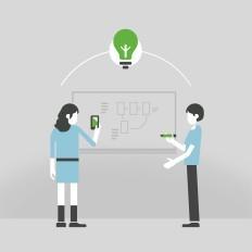 ilustração de duas pessoas com celulares em mãos em frente a um painel