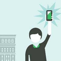 Ilustração de um homem segurando um telefone com a mão para cima