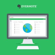 Ilustração de um computador com tela do Evernote