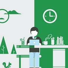 Ilustração de uma pessoa em pé atrás de uma mesa mexendo em um computador