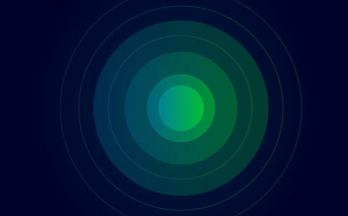 Green and Blue Circles Illustrating Focus
