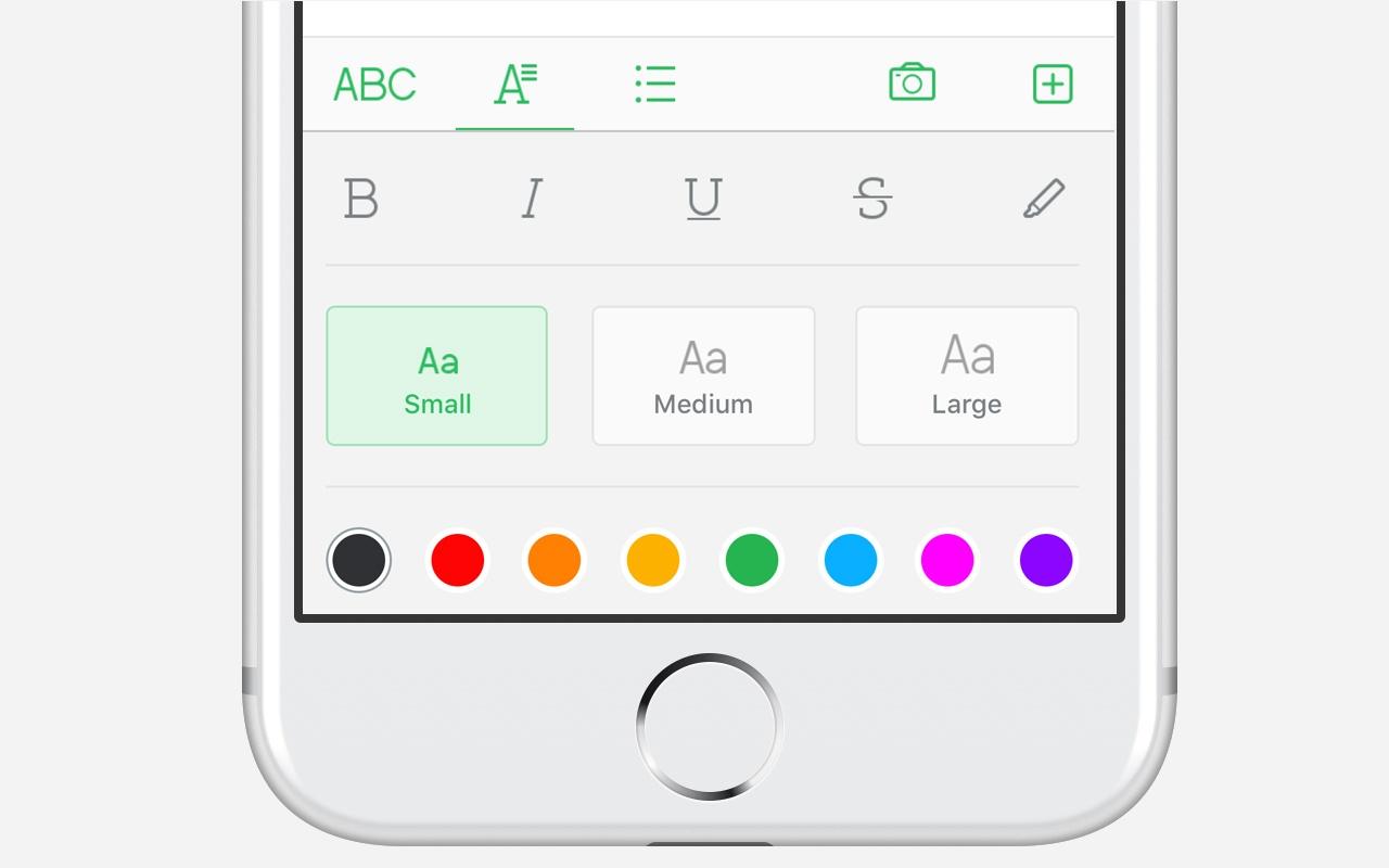 Schriftart und Farbauswahl