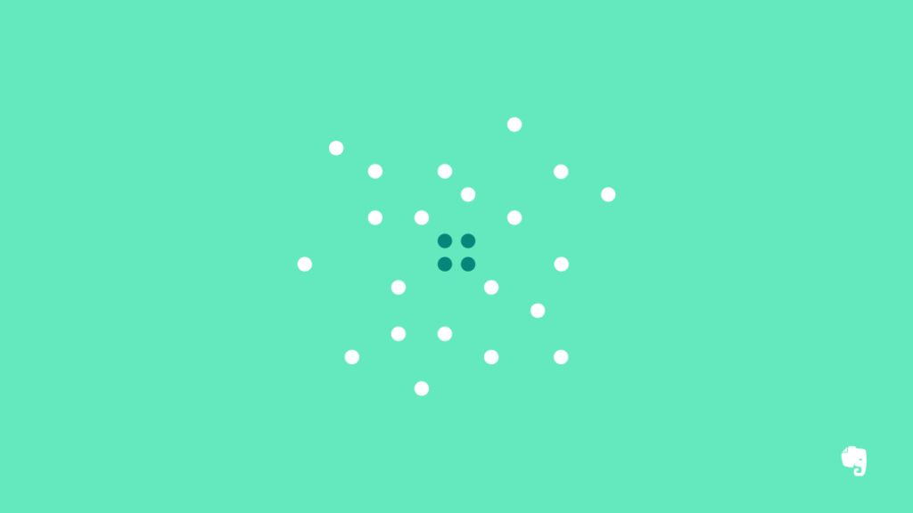 Minimalism Illustration with Dark Dots in the Center and White Dots around Them