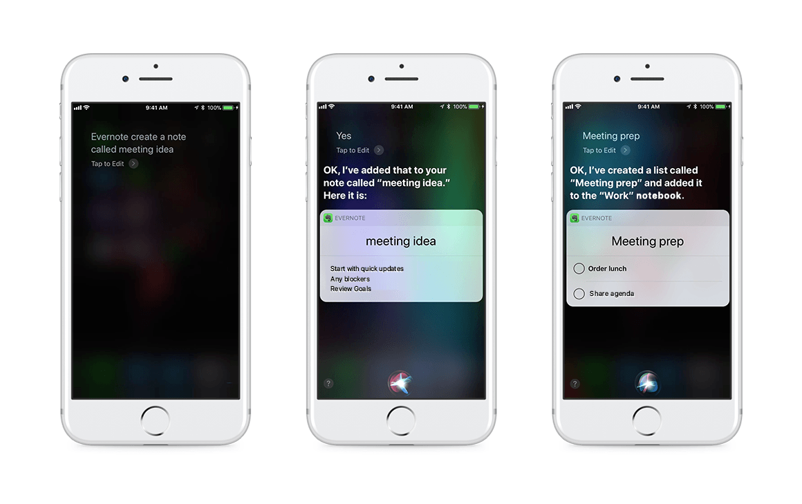 Siri et Evernote sur iPhone