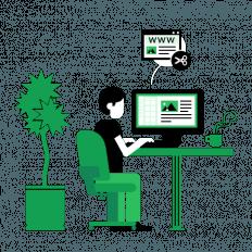 Ilustração de um homem sentado em uma mesa mexendo em um computador