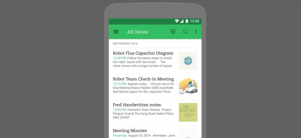 Phone with Evernote with Google Design on it