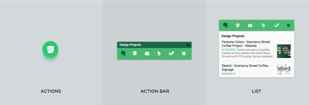 Android Widget Typen Actions Action Bar und List