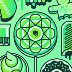 Ilustração do logotipo do Evernote em um pirulito