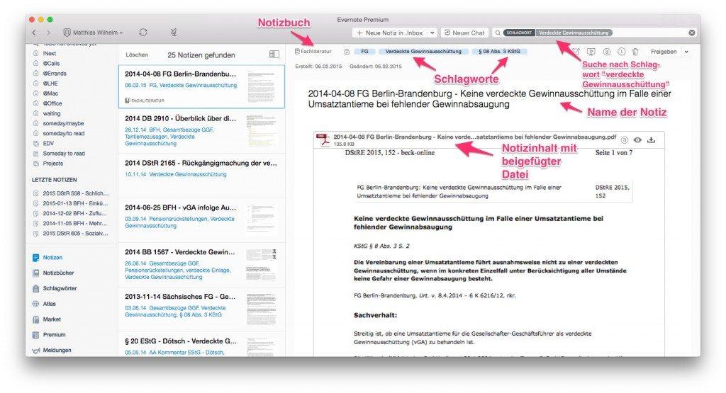 Bestandteile und Aufbau einer Notiz in Evernote für Mac