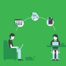 Ilustração de duas pessoas mexendo em seus computadores compartilhando notas do Evernote