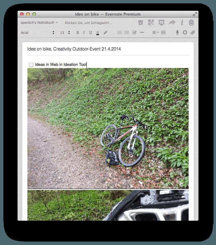 Notiz mit Bild von umgekipptem Fahrrad