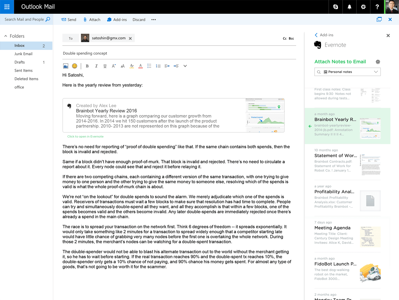Evernote Notizen als Anhang in Outlook einfügen