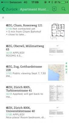 listes d'appartements