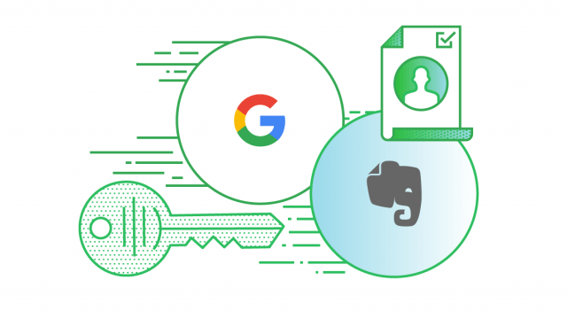 Ilustração sobre Google Login para Evernote