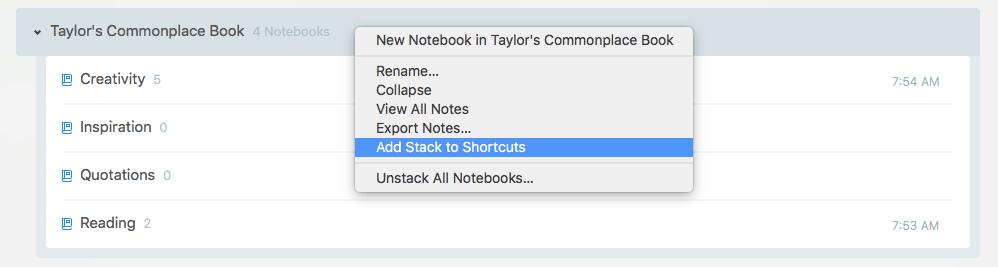 raccourcis piles de carnets de notes