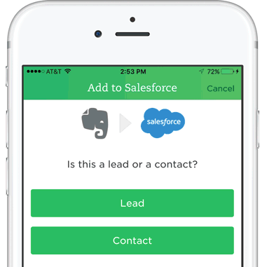 Add Business Card To Salesforce Screen On IPhone With Evernote And Logos