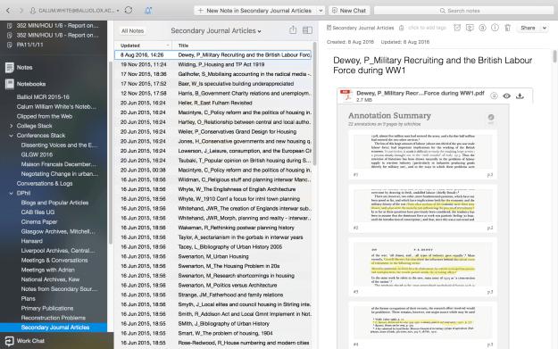 nota con pdfs y anotaciones