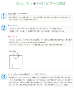 サッカーノートの例(練習日誌)