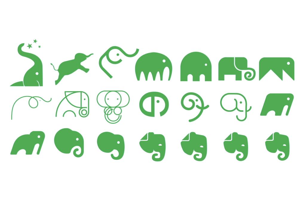 象のロゴのバリエーション