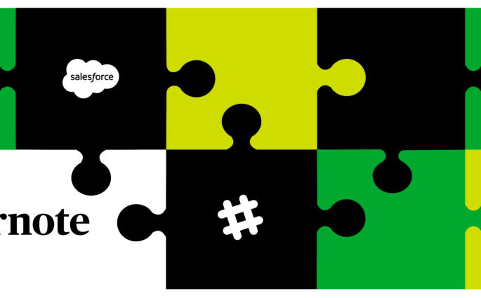 Evernote, Slack, and Salesforce logos on a background of interlocking puzzle pieces.