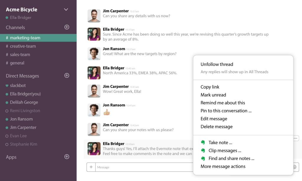 Screenshot of Slack conversation showing Evernote actions.