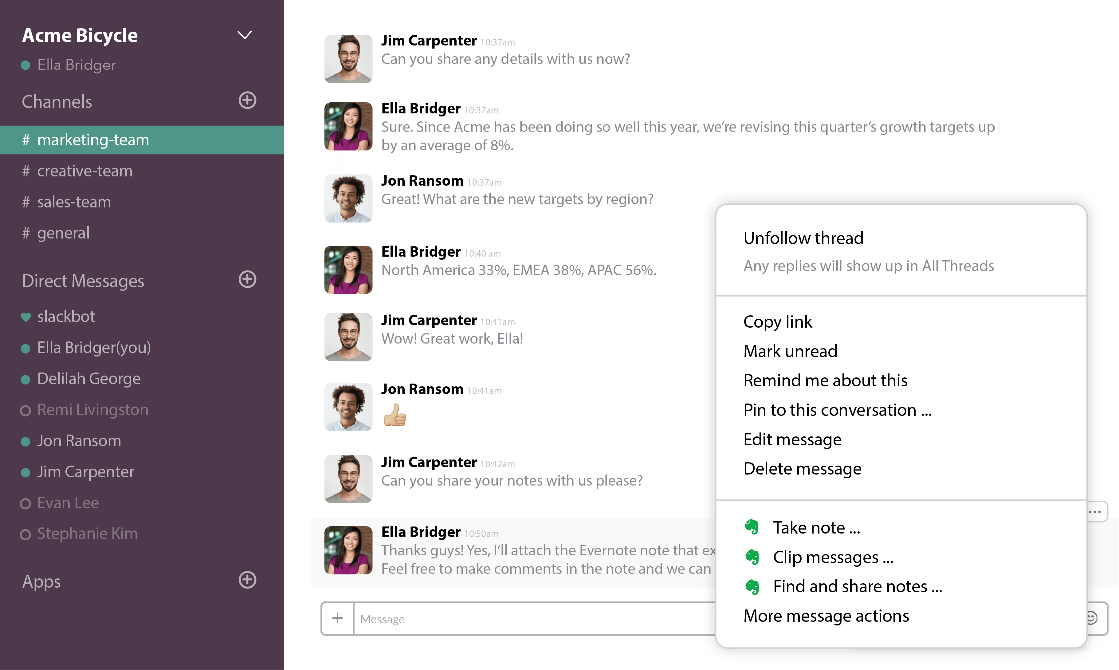Screenshot of Slack conversation showing Evernote actions.