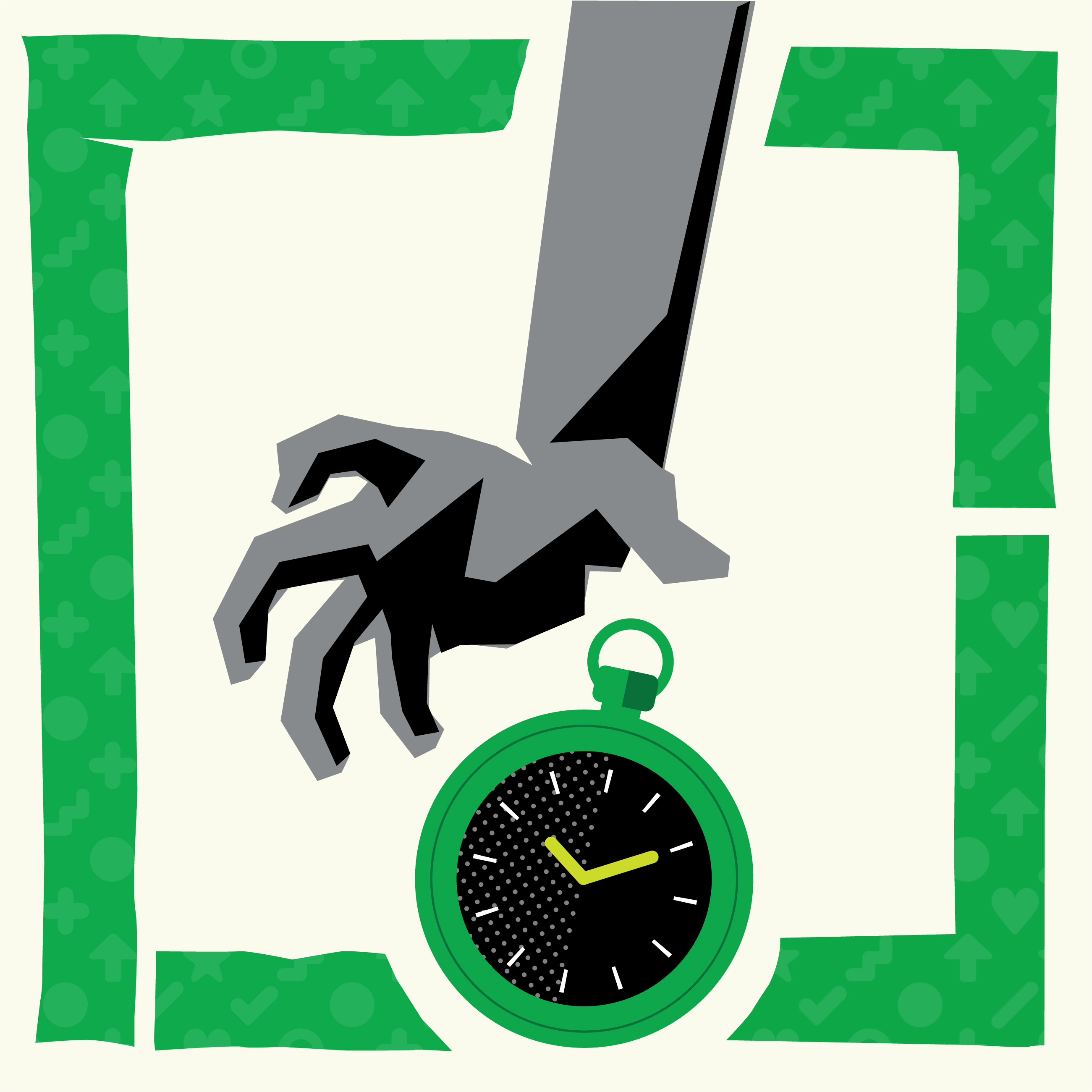 Illustration of a hand reaching for a stopwatch.