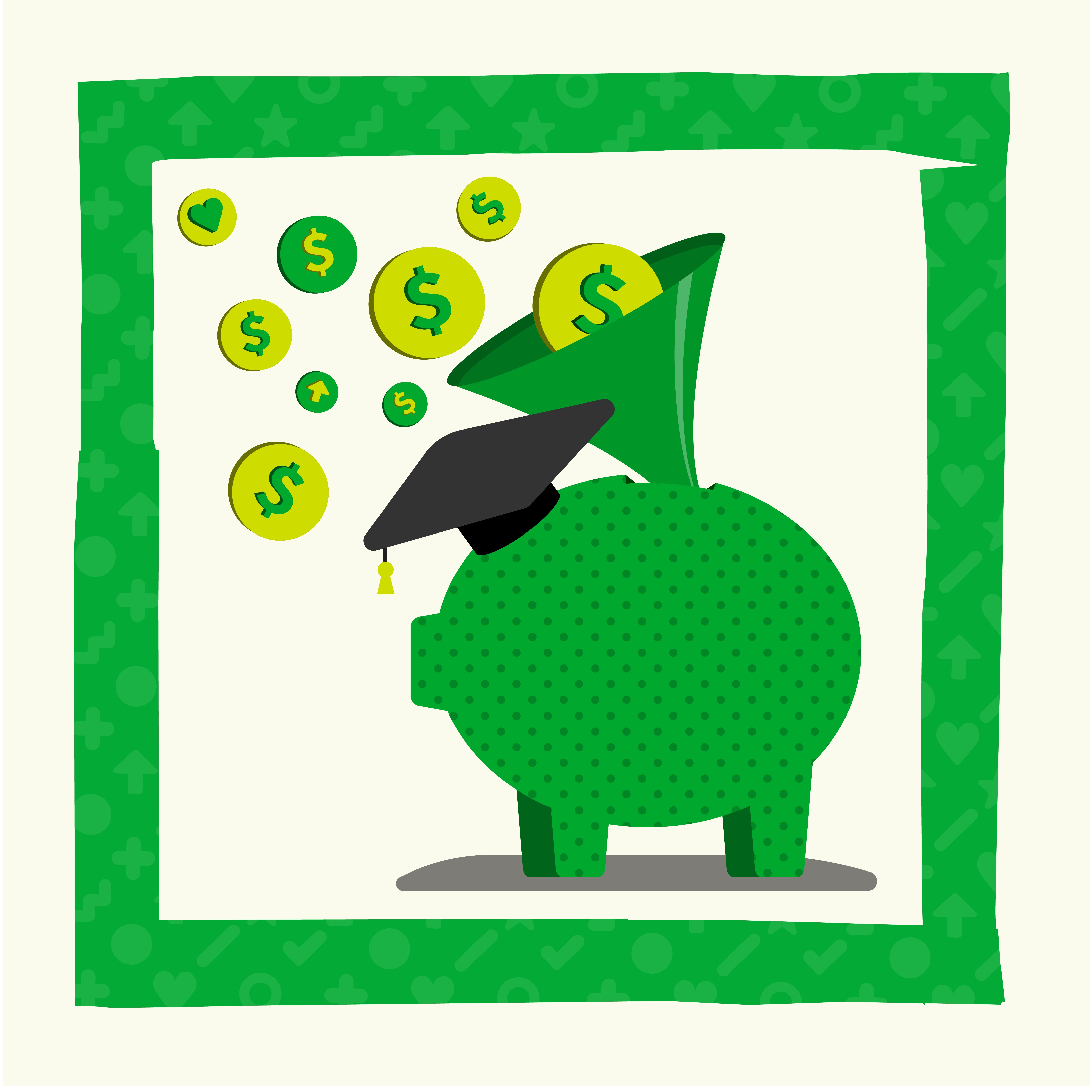 A piggy bank wearing an academic cap, with coins funneling into it.