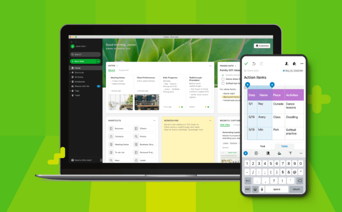 Screenshots of the new Evernote apps on desktop and mobile against a green background.