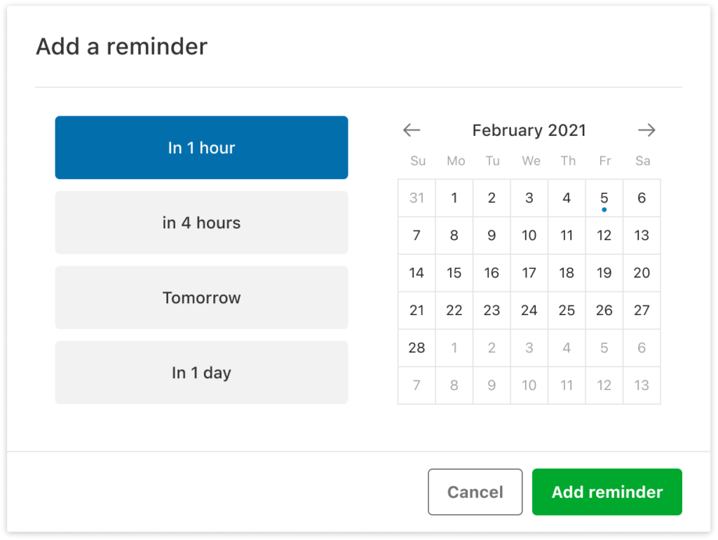 Screenshot of the reminder setting screen in Evernote.