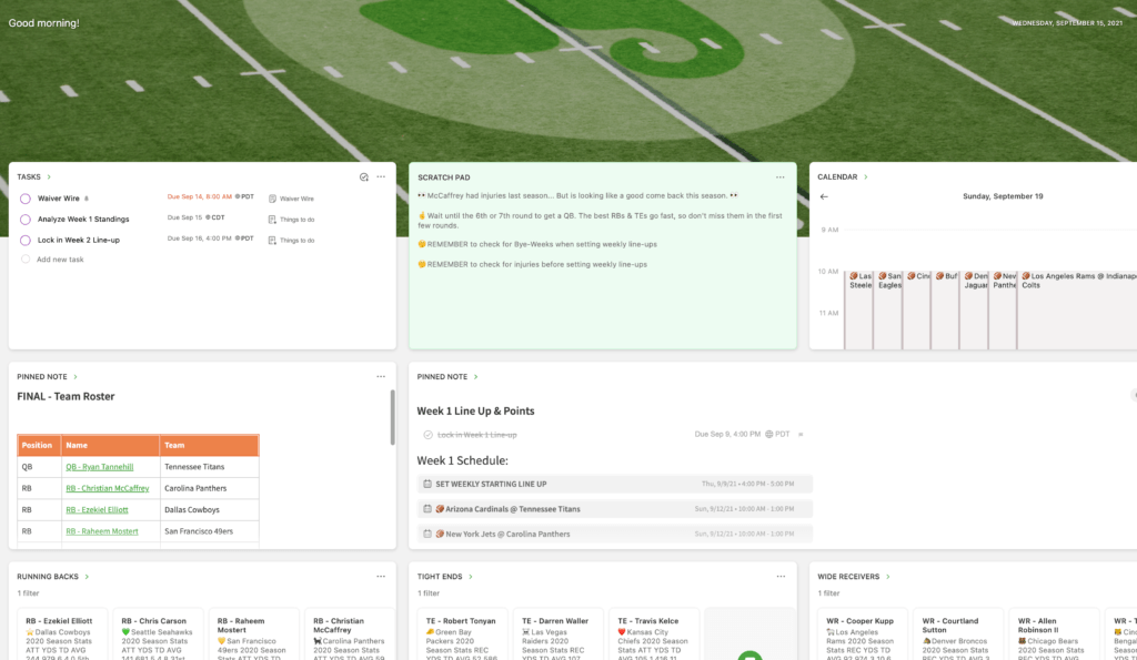 Home dashboard in Evernote, customized to manage a Fantasy Football team with Tasks, scratch pad, Calendar, filtered notes, and pinned note widgets.