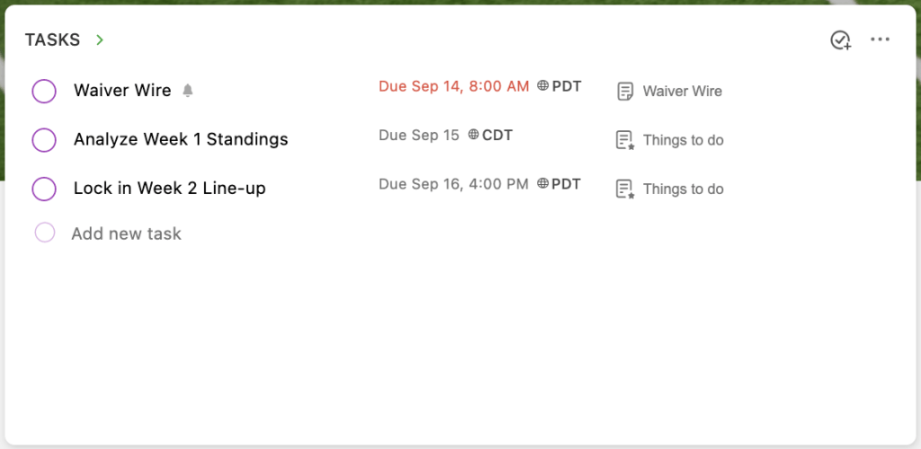 Tasks widget in Home showing several Fantasy Football-related tasks to be completed.