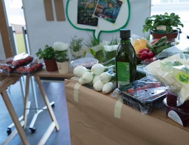 Vegetables and other products on a table.