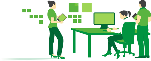 Green illustration of three people working