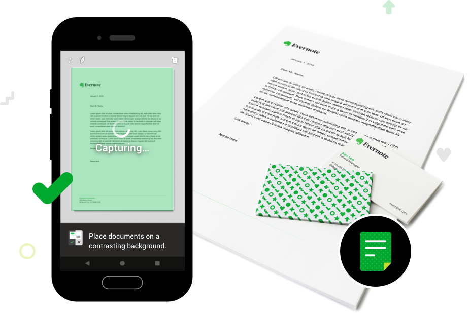 Imagen de documento de papel y captura de pantalla de la función de escaneo de documentos de Evernote