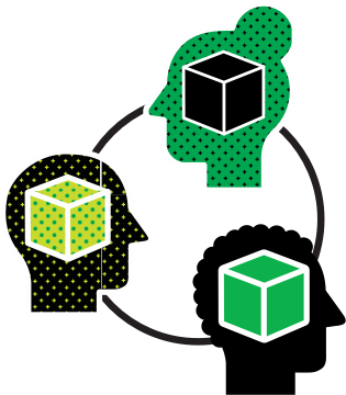 An illustration for the concept of collaboration: three heads with cubes inside, connected together