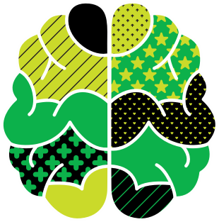 Graphic illustration of a brain, depicting Evernote capability to help users Remember everything