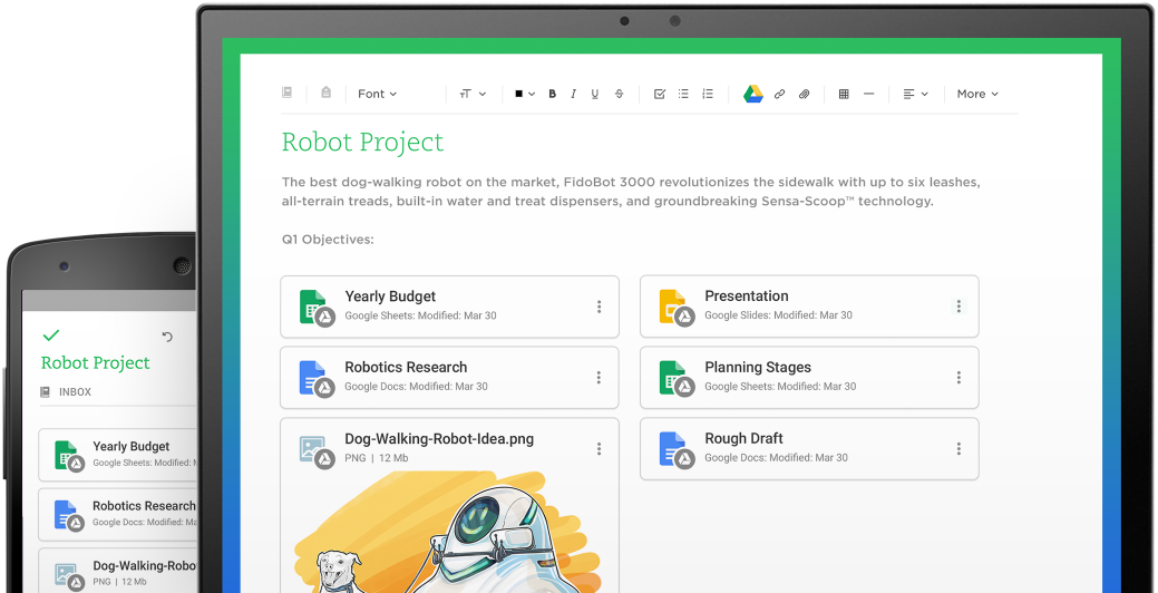 Screenshot images on a mobile device and desktop, depicting Evernote integration with Google Drive