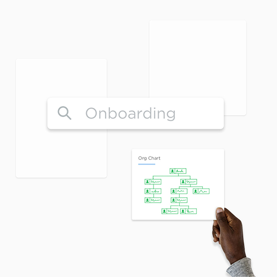 A search box and a hand holding an org chart.