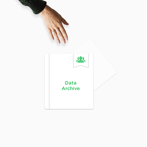 Hand reaching for data archive.